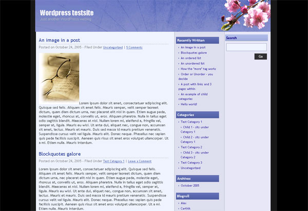 3 column widget enabled Blue wordpress theme